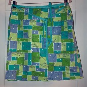 Lilly Pulitzer Wrap Skirt Green/Blue with Fish